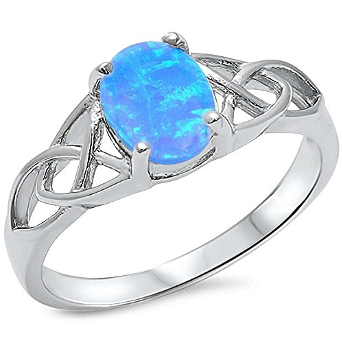Blue Opal Sterling Ring (Sterling Silver Oval Lab Created Blue Opal Celtic Design Ring Sizes)