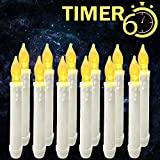 Window Candles with Timers,Led Battery Operated Flameless Taper Candles for Halloween/Christmas/Birthday Party Themed Decorations Supplies-12 Pack