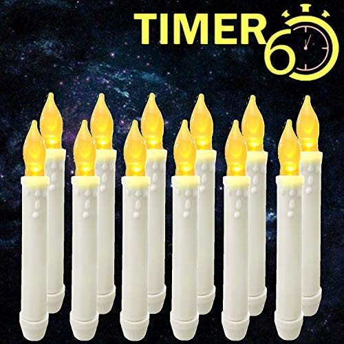 (Window Candles with Timers,Led Battery Operated Flameless Taper Candles for Halloween/Christmas/Birthday Party Themed Decorations Supplies-12 Pack)