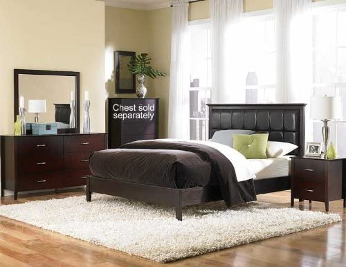 Amazon Com 4pc King Size Bedroom Set With Channel Tufted Bed In Merlot Furniture Decor