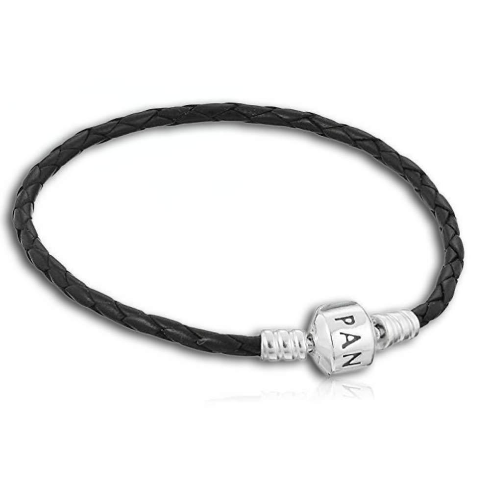 Pandora Women's Single Black Braided Leather Bracelet (52077121)