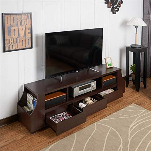 Furniture of America Moshe 70-inch TV Stand with Side Storage in Walnut