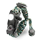 LeMotech 21 in 1 Adjustable Paracord Survival Bracelet, Tactical Emergency Gear Kit Includes