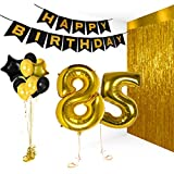 Treasures Gifted Happy 85th Birthday Party Decorations Supplies Kit Gold Metallic Letter Decor Balloon Banner for Wedding Engagement Bday Bachelorette Photo Booth Props