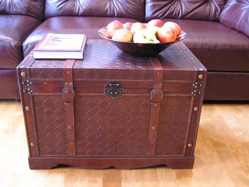 Georgetown Faux Leather Chest Wooden Steamer Trunk – Large Trunk