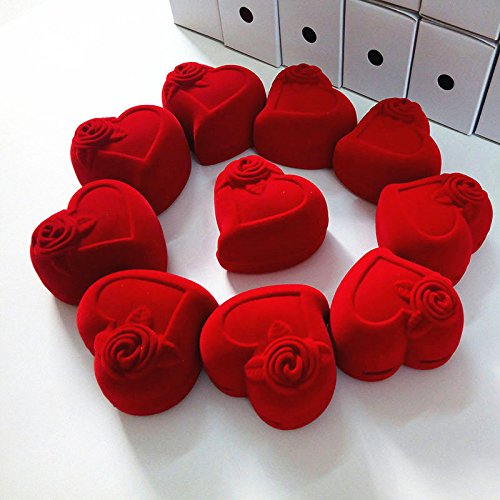 FidgetFidget 10PCS Red Rose Heart Ring Earring Display Jewelry Box Gift Velvet Storage Case