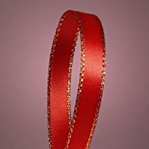 "1/4"" Red Satin Ribbon with Gold Edge Borders 50 YDS"