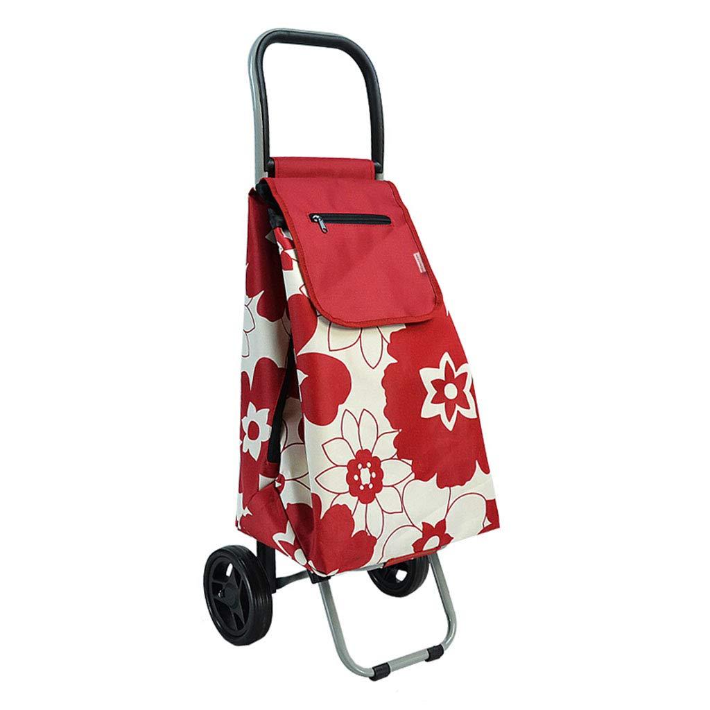 && Lebensmittelgeschäft-Einkaufswagen, Alter Mann-Einkaufswagen-tragbarer Laufkatzen-faltender Handwagen-abnehmbare Tasche 33x31x93cm (Farbe : A)