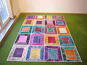 Alfombra en patchwork multi 157 170x235 cm hogar - Alfombras comedor amazon ...