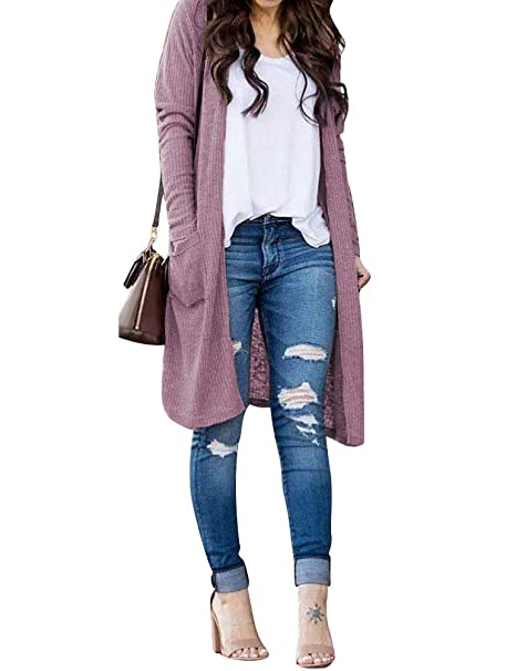 Image Unavailable. Image not available for. Color  StarVnc Women Open Front  Long Sleeve Tunic Knit Sweater Cardigan Outwear with Pockets 3ab885a98