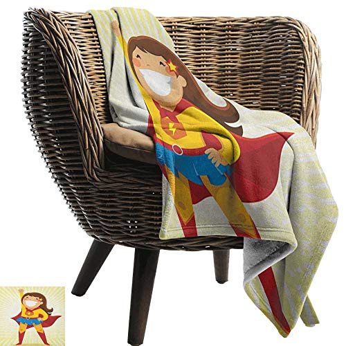 AndyTours Throw Blanket,Superhero,Courageous Little Girl with a Big Smile in Costume Standing in a Heroic Position, Multicolor,Sofa Super Soft, Plush, Fuzzy Microfiber Throw Reversible,Comfy 30