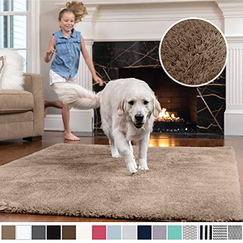 Gorilla Grip Original Faux-Chinchilla Area Rug, 2x4 Feet, Super Soft and Cozy High Pile Washable Carpet, Modern Rugs for Floor, Luxury Shaggy Carpets for Floors, Bed and Living Room, Taupe