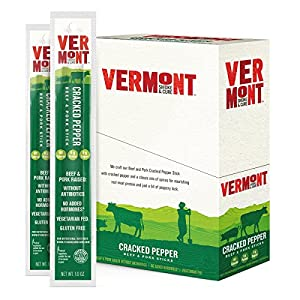 Vermont Smoke & Cure Meat Sticks, Beef & Pork, Antibiotic Free, Gluten Free, Cracked Pepper, 1oz Stick, 24 Count
