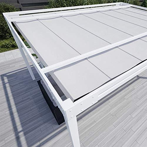 QEEQ.IT - Cenador de 3 x 3 m, Estructura Blanca/Tela Gris ...