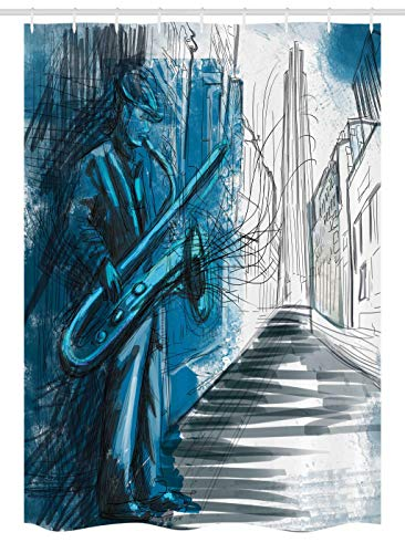 Ambesonne Music Stall Shower Curtain, Saxophone Man Playing Solo in The Street at Night Vibes Grunge Home Decor, Fabric Bathroom Decor Set with Hooks, 54 W x 78 L Inches, Dark Blue Black White (The Very Best Of Street Vibes)