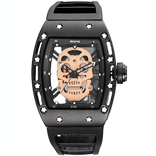 SKONE Men Skull Style Quartz Watches Military Silicone Sports Watch Waterproof Luminous Wristwatch (GOLD)