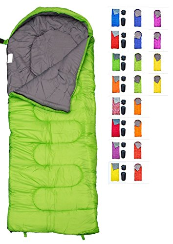 REVALCAMP Sleeping Bag for Cold Weather - 4 Season Envelope Shape Bags by Great for Kids, Teens & Adults. Warm and Lightweight - Perfect for Hiking, Backpacking & Camping (Green - Envelope Right Zip)