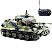 Amazon #LightningDeal 93% claimed: BlueFit German Tiger I Panzer RC Tank with Remote Control Fighting Tanks with Battery, Light, Sound, Rotating Turret and Recoil Action When Cannon Artillery Shoots, Mini 1:72 Scale, Vary Colors