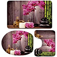 3 Piece Bath Mat Rug Set,Spa-Decor,Bathroom Non-Slip Floor Mat,Spa-Orchid-Flowers-Rocks-Bamboo-Asian-Style-Aromatherapy-Massage-Therapy-Decorative,Pedestal Rug + Lid Toilet Cover + Bath Mat,