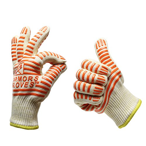 Armors Gloves (Set of 2) - Oven Glove Withstand Heat up to 662f - Comfortable Five Fingered Flexi - Grip for Left or Right Hand - Great for the Kitchen, BBQ -The Best Oven Mitt & Grill Gloves in the Market - Full Refund If Not Satisfied
