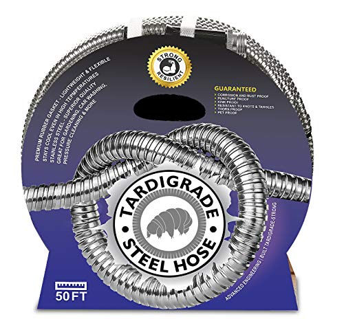 Tardigrade Steel Hose - 50' 304 Stainless Steel Garden Hose - Lightweight, Kink-Free, Strong Heavy Duty, Metal Water Hoses, High Pressure, Durable and Easy to Use