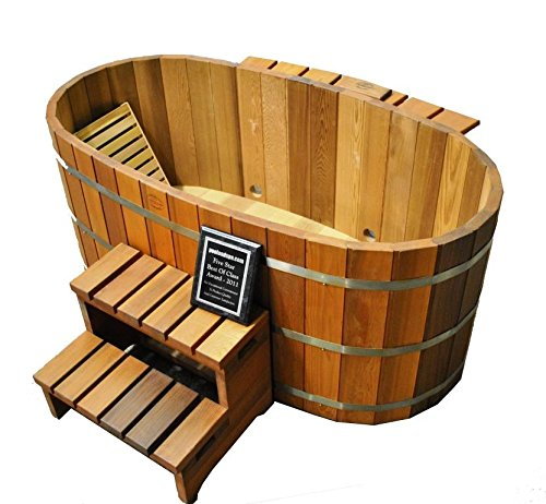 Japanese Wood Ofuro Soaking Tub for 2 - Wood Fired - Seat Tub Soaking