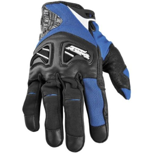 NEW SPEED AND STRENGTH RUN WITH THE BULLS-SHORT ADULT LEATHER/TEXTILE GLOVES, BLUE, SMALL/SM