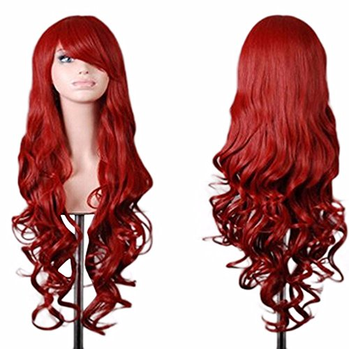 Fashion Lolita Wigs Long Wavy Curly Hair Heat Resistant Wig Cosplay Wig For Women (31 Inch, Red)