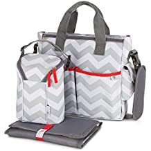 Baby Diaper Bag for Girls & Boys – 3 in 1 Compact Diaper Weekender Tote Bag Bottle Bag, Changing Pad & Stroller Straps. Premium Unisex Chevron Grey w/ 13 Pockets. Ideal Baby Shower Gift for Mom & Dad