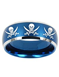 Blue Tungsten with Dome Edge Skull Design Satin Two Tone Laser Engraved Ring