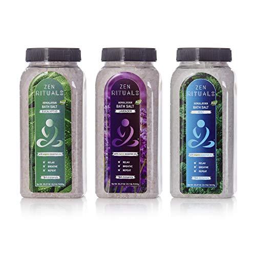 Zen Rituals Bath Salt Set - Organic Lavender Oil Himalayan Salt, Mint Salt With Minerals and Eucalytus Salt With Minerals, Bundle Pack 3 Bottles, 6.6 lbs ()