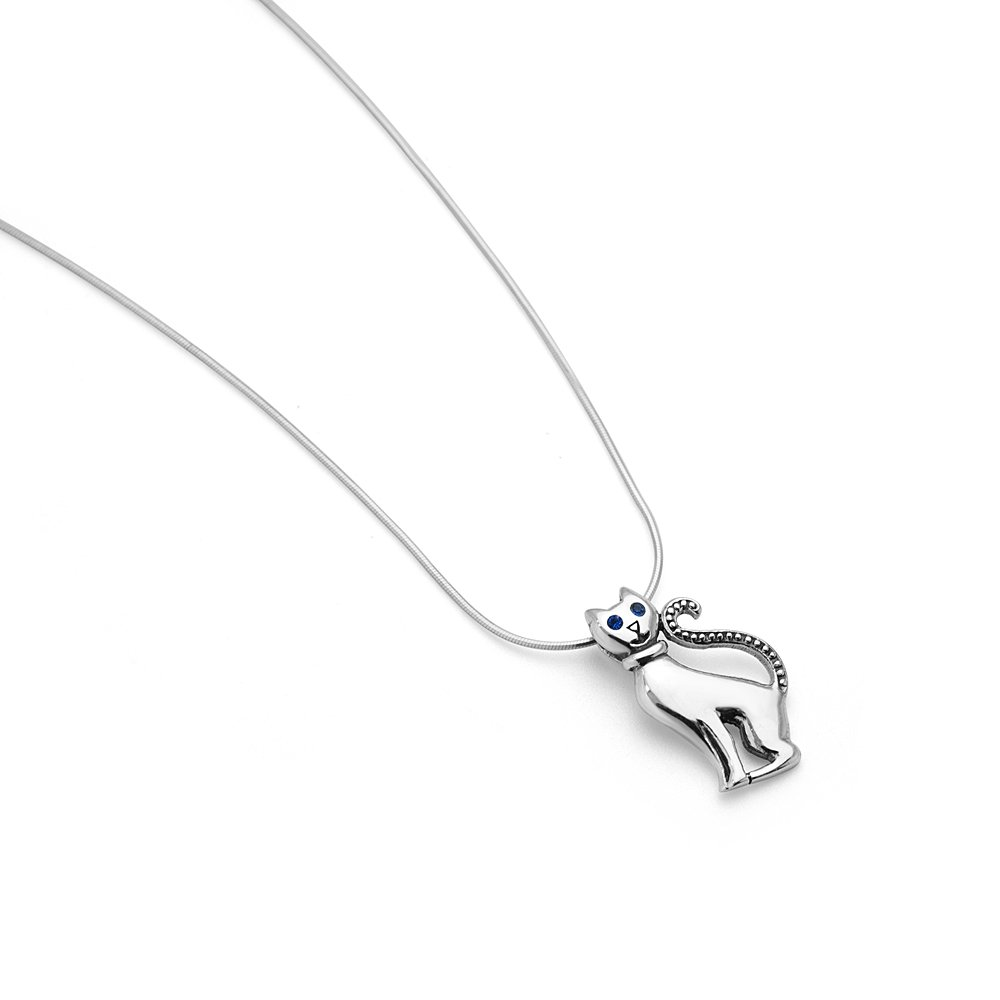 18 Chain SUVANI 925 Sterling Silver Blue CZ Cubic Zirconia Eyes Cute Cat Kitten Pendant Necklace