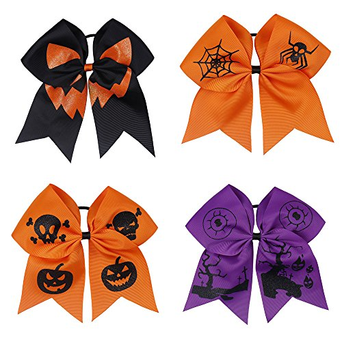 CN Halloween Hair Bow For Girls With Ponytail Holder Elastic Band For Baby Girls Teens pack of 4 for $<!--$12.99-->