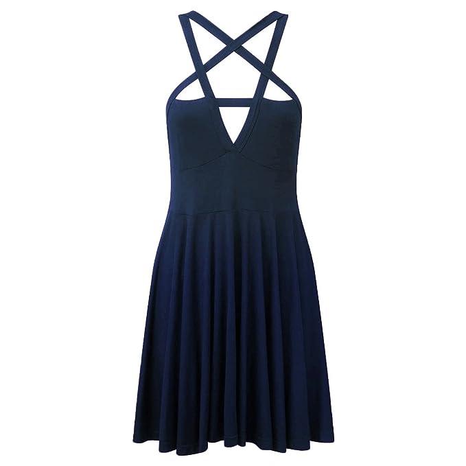 37b4fd7007773 Verypoppa Women Vintage Gothic Pentagram Strappy Bandage Swing Dress