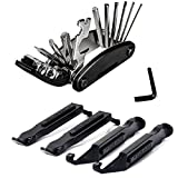 ziyue Bicycle Tool Kit, Spare Necessary Tool for Cycling,Multi-Function, Best Bike Repair Tires & Tubes Tools, 16 in 1 Mechanic Repair Tools Kits With 4 pcs Tire Pry Bars Rods (Black -A)