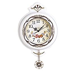 Graces Dawn 19'' Light-weight Antique Retro Elegant Decorative Clocks Ultra Mute Silent Quartz Movement Wall Clock with Swinging Pendulum for Kitchen Living Room Home Decoration (White)