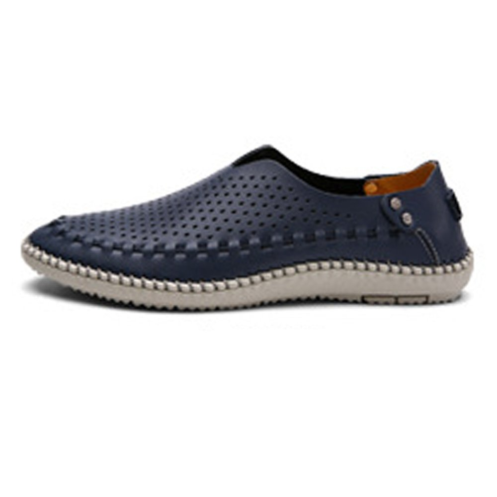 Lederschuhe Herren Enuine Lederschuhe Klassische Slip on Loafers Atmungsaktive Loch Gefütterte Oxfords Breathable Navy