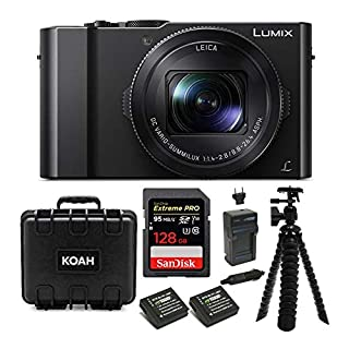 "Panasonic LUMIX LX10 4K 20.1MP Digital Camera with Leica 24-72mm Lens (Black), 128GB SD Card, Battery/Charger, Protective Case, and 10"" Spider Tripod Bundle (9 Items)"