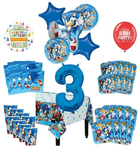 Mayflower Products Sonic The Hedgehog 3rd Birthday Party Supplies 8 Guest Decoration Kit and Balloon Bouquet -
