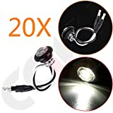CCIYU (Total of 20 Pcs) White 3/4 Inch Mount Clear Lens LED Bullet Light Lamp Truck Trailer Round Side Marker