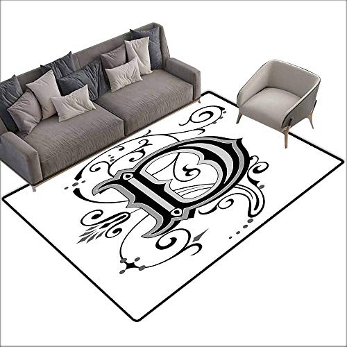 (Floor mats for Kids Letter D,Initial Letter from Medieval Scrolls Capital D Symbol Medieval Design Print,Black Grey White 48
