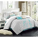 Chic Home 8 Piece Bliss Garden Comforter Set, Queen, Turquoise