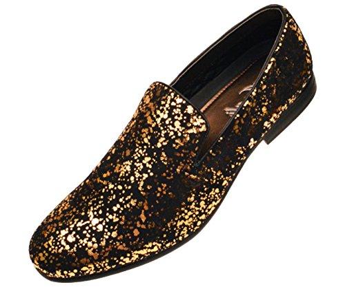 Shoes Splatter (Amali Mens Gold and Black Splatter Metallic Smoking Slipper Style Slip On Dress Shoe: Style)