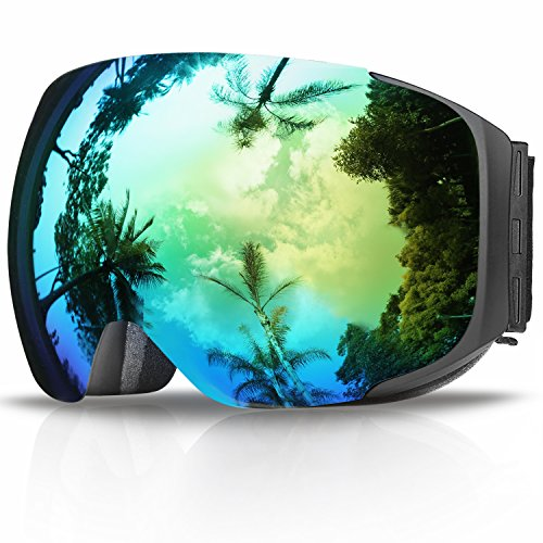 Ski Goggles,Findway Snowboard Snow Goggles-Upgraded Magnetic Interchangeable Dual-layer Lens,Frameless Anti Fog Over Glasses OTG UV Protection- For Women Men Youth Adult Boys Girls Snowboarding - Eyeglass Lens Replacement