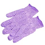 2pcs Shower Exfoliating Bath Gloves Nylon Shower Gloves Body Scrub Exfoliator for Men Women Kids(Purple)