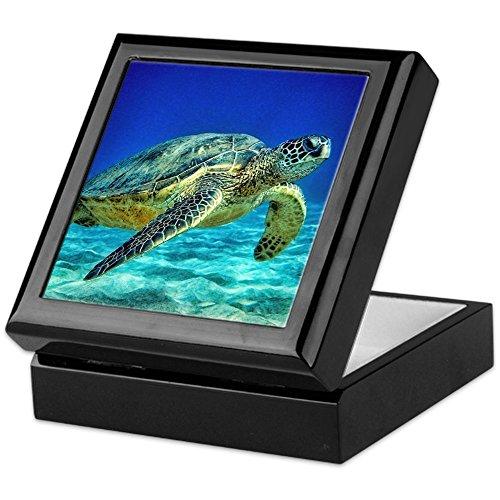 Turtle Tile Box - CafePress - Sea Turtle - Keepsake Box, Finished Hardwood Jewelry Box, Velvet Lined Memento Box