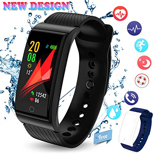 Fitness Tracker, 2018 Activity Tracker Swimming Heart Rate Blood Pressure Monitors Bluetooth Sleep Monitor Weather Sport SMS SnS Reminder iOS Android Phones Men Women Kids