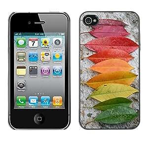 [Neutron-Star] Snap-on Series Teléfono Carcasa Funda Case Caso para iPhone 4 / 4S [Autumn Rainbow Verde Amarillo Rojo Naturaleza]