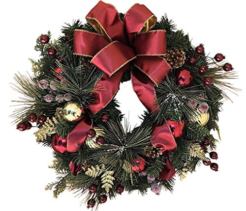 The Wreath Depot Easton Christmas Wreath, 22 Inch Elegant Designer Quality, White Gift Box
