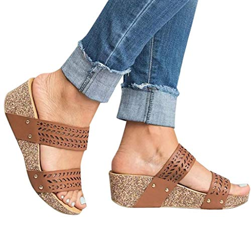 (Women Sandals Burning Flower - POHOK Women Summer Fashion High Heel Retro Peep Toe Slipper Hollow Carved Slipper(42,Brown))